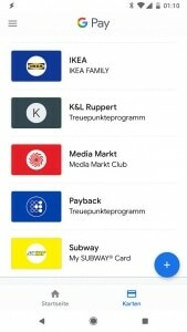 Screenshot GooglePay Kundenkarten