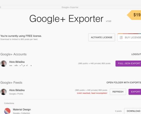 Noch schnell die Daten sichern: Google+ Exporter 1