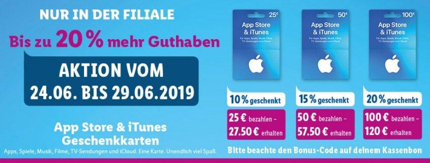 Schnäppchen: Bis zu 20€ Bonus auf Apple iTunes Guthaben bei Lidl 1