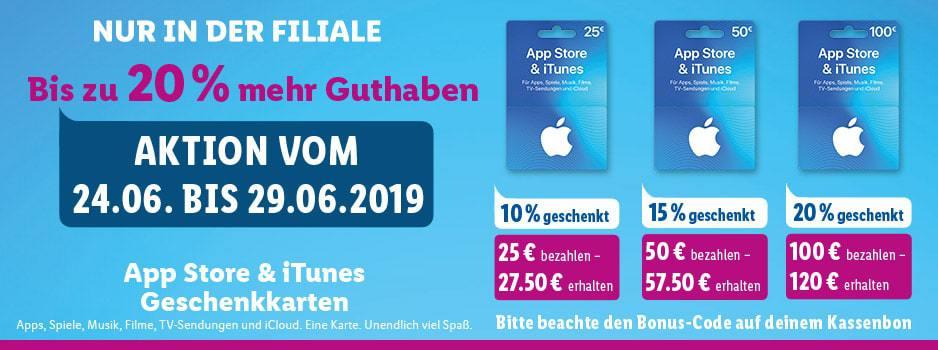 Schnäppchen: Bis zu 20€ Bonus auf Apple iTunes Guthaben bei Lidl