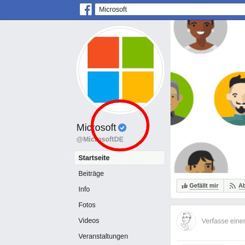Facebook Blauer Haken