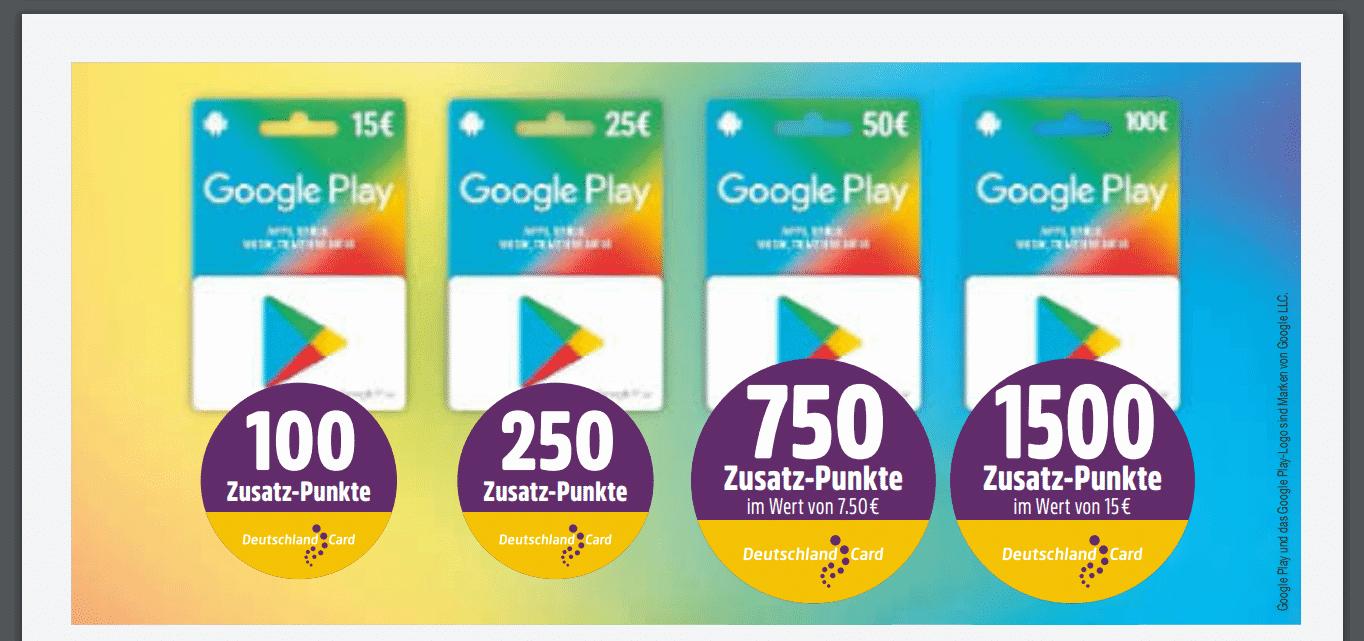 Bis zu 1500 DeutschlandCard Punkte für Google Play Store Guthaben